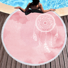 1500MM  Big Round Beach Towels for Adults Microfiber Pink Dreamcatcher Travel Summer Bath E1