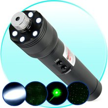 Wholesale prices Ultra Power 532nm 200mW Green Laser Pointer + LED Torch Light flashlight