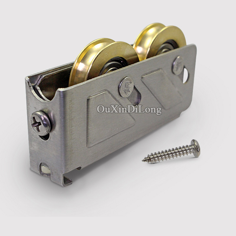 HOT 4PCS/lot 888 Type Aluminum Alloy Door and Window Rollers Pulley Double Brass Wheel Sliding Door&Window Door Wheels Fittings