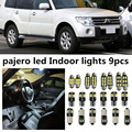 9 x erro gratuito white led interior luz kit pacote para mitsubishi pajero 2007-2014 acessórios porta luzes de leitura