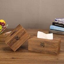 Домашняя кухонная мебель пластиковая коробка для одноразовых салфеток Сельский Деревенский коричневый Torched Деревянный чехол для косметических салфеток Держатель раздатчик салфеток