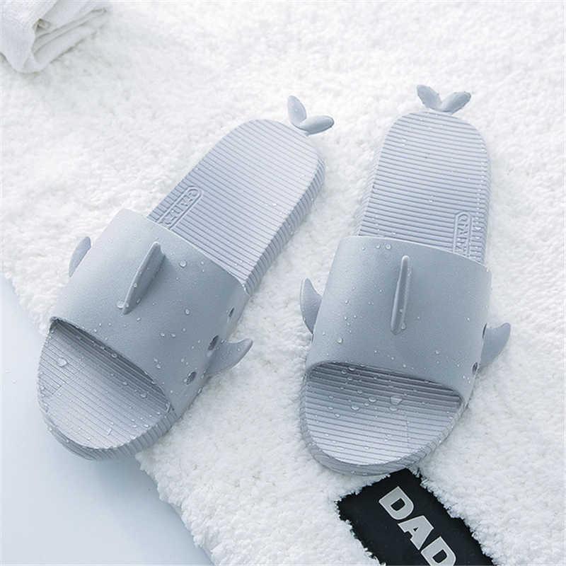 155c72275 New Home Slippers Women Shoes Unisex Flat Sandals Solid Bathroom Slippers  Shark Fin Decor Soft Light
