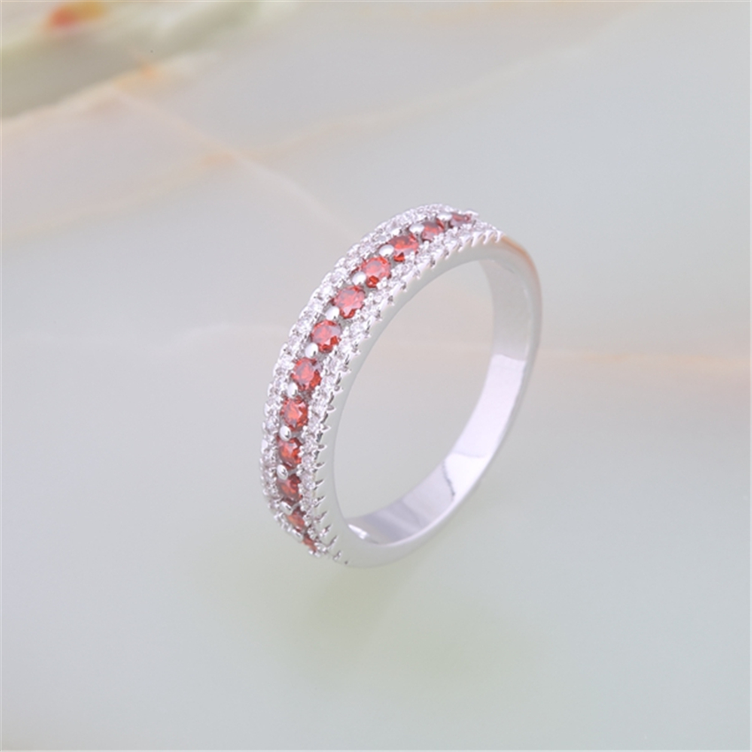 ZHE FAN Mini Stone Rings Red Olive AAA Cubic Zirconia Cute Copper Jewelry Ring Charm font
