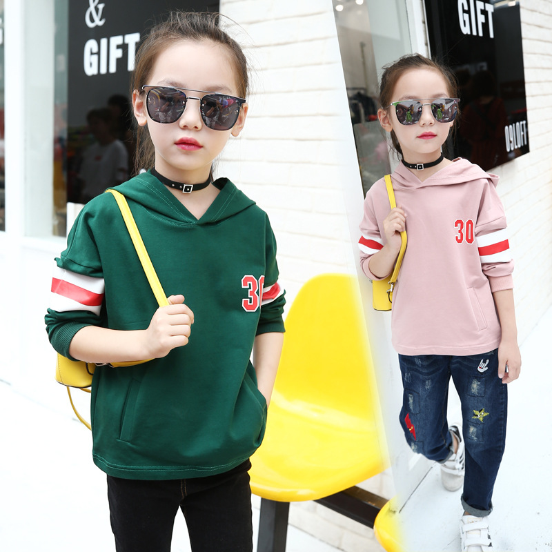 Girls Tshirt 2018 New Spring Girls Sweatshirt Kid Cartoon Girls Hoodies Sweatshirt Letter Printed Striped Hoodies Kids Clothing