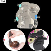 3D Easter Bunny Rabbit Plastic Chocolate Mold Cute Shoe Candy Mold Sugar Paste Mold Cake Decorating Tools DIY Home Baking Tool