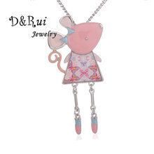 Pink Mice Statement Necklace Animal Alloy Enamel Collar Chains Choker Necklaces Pendant Jewelry 2019 Fashion New Women Girls bohemian summer women girl necklace statement necklaces enamel pink flower crystal choker necklace for women collar jewelry