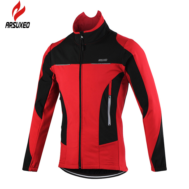 ФОТО ARSUXEO 2017 Thermal Cycling Jacket Winter Warm Up Bicycle Clothing Windproof Waterproof Sports Coat MTB Bike Jersey 15F