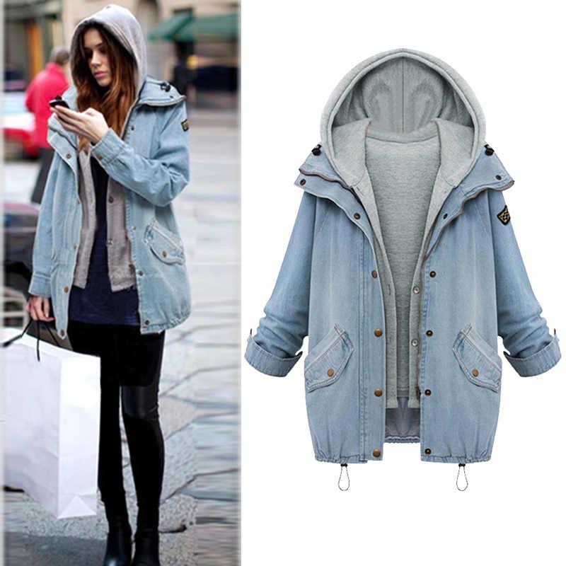 2019 Модный женский костюм из двух предметов, зимняя джинсовая куртка с капюшоном, плюс размер, повседневная куртка, женская верхняя одежда осенняя парка, джинсовая куртка