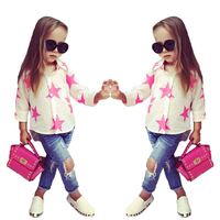 Fashion Style For Girls Of Chiffon Long Sleeves Tops With Stars Printed Jeans Pants In Autumn