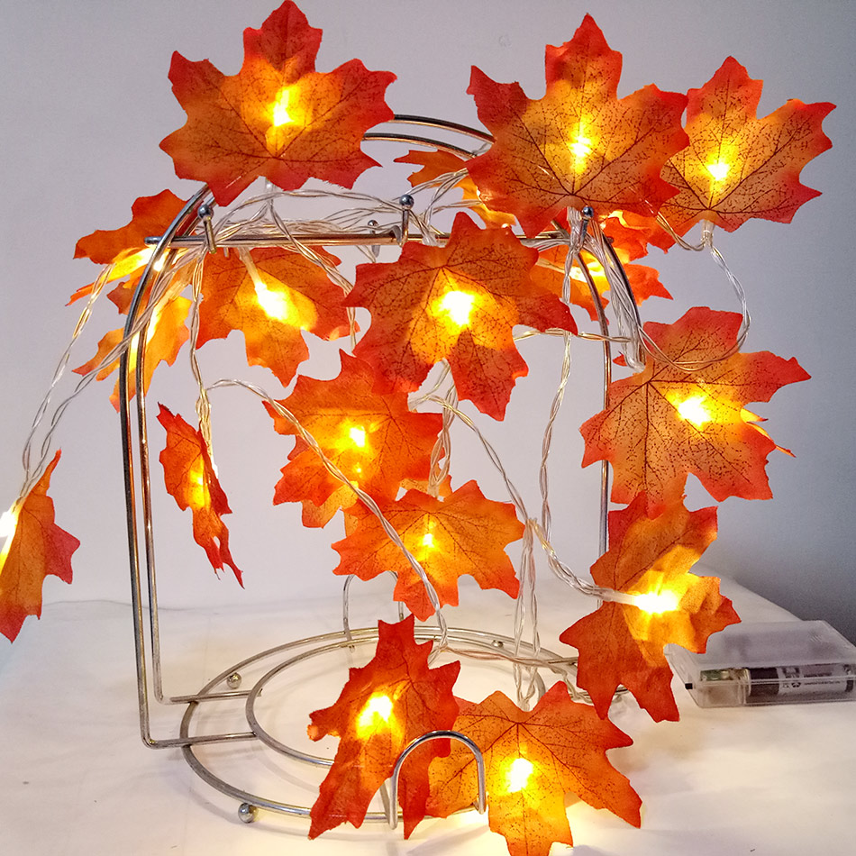 flower Arrangement For New Year Decoration Novelty Maple Leaf Garland Led Fairy String Light Aa Battery Holiday Party Light