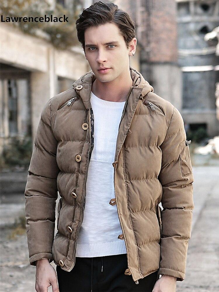 ae9f598f0 Lawrenceblack de los hombres de invierno chaqueta gruesa caliente Parka con  capucha abrigo chaquetas ...