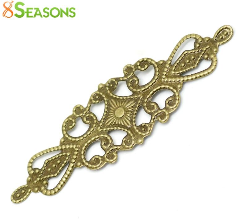 8SEASONS 100PCs Antique Bronze Filigree Wraps Connectors Embellishments Findings 6.5x2cm(2-1/2