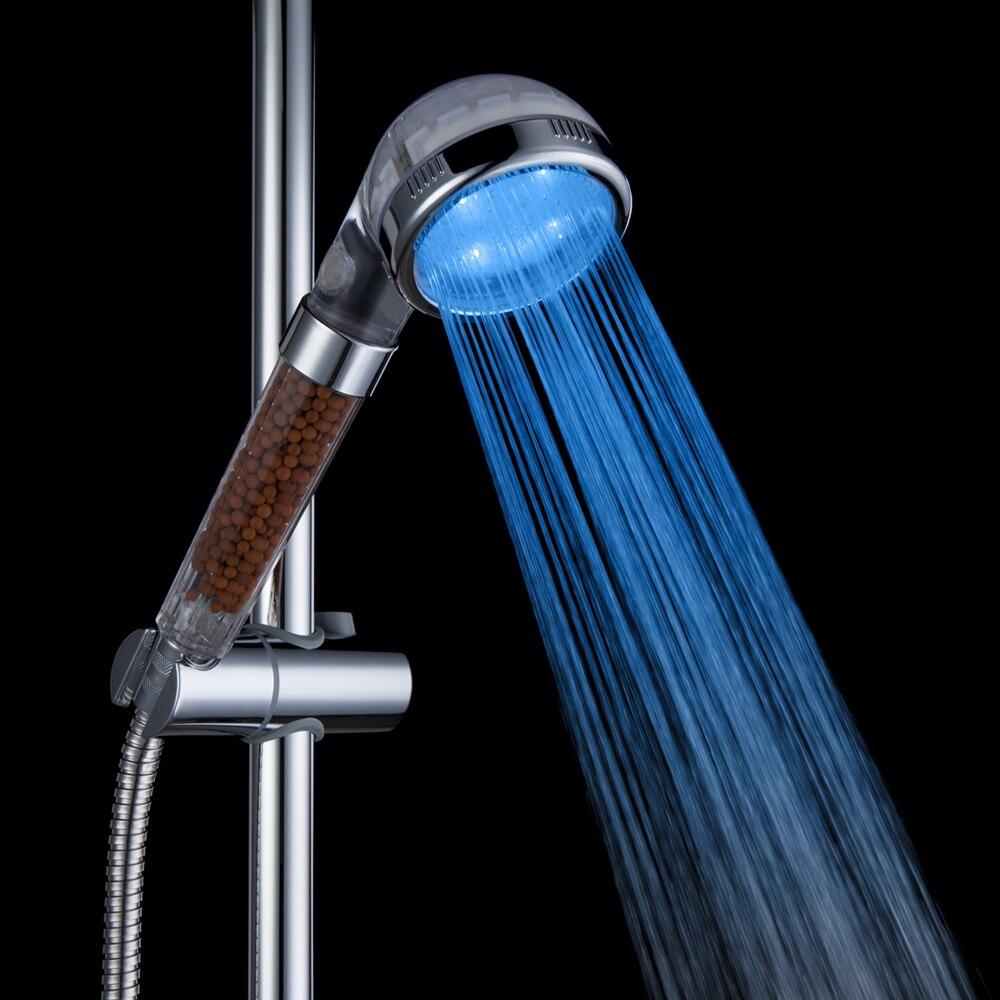 LED Duschkopf Badezimmer Duschkopf wassersparende Hand Hochdruck Regen Dusche SPA Anion Temperatursensor RGB 3 Farbe