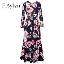 FLOYLYN 2017 Summer Women Boho Beach Dress Print O-Neck Casual Long Maxi Robe Long Sleeve Dress Women Clothing