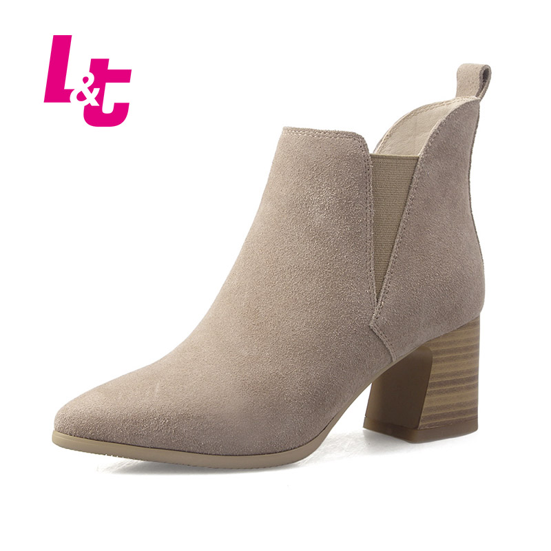 L&T Autumn/winter suede women shoes nubuck leather square heel pointed toe slip-on ladies ankle boots high quality biker boots