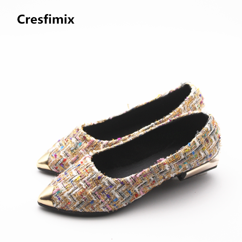 Cresfimix women casual spring & summer slip on flat shoes lady fashion party shoes female pointed toe comfortable shoes zapatos cresfimix women fashion