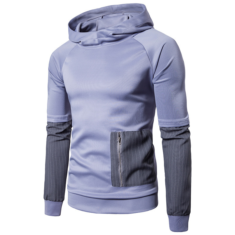 Mens Stitching Colour Striped Long Sleeve Design Fashion Hooded Pullover Hoodie Men Casual Hoodies Male Tops 2colour