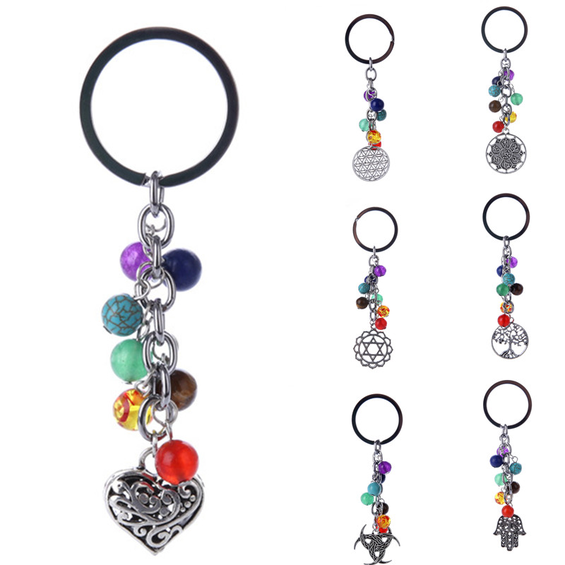 DIEZI 8mm Fashion Multicolor Yoga Healing Natural Stone 7 Chakra Pray Keychain Car Key Chain Ring Owl Heart Pendant For Bag