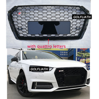 For RS4 Style Front Sport Hex Mesh Honeycomb Hood Grill grille Gloss Black for Audi A4 S4 B9 2017 2018