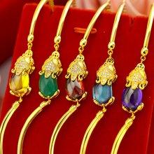 Модный браслет цепь на запястье Желтое золото Заполненные женские