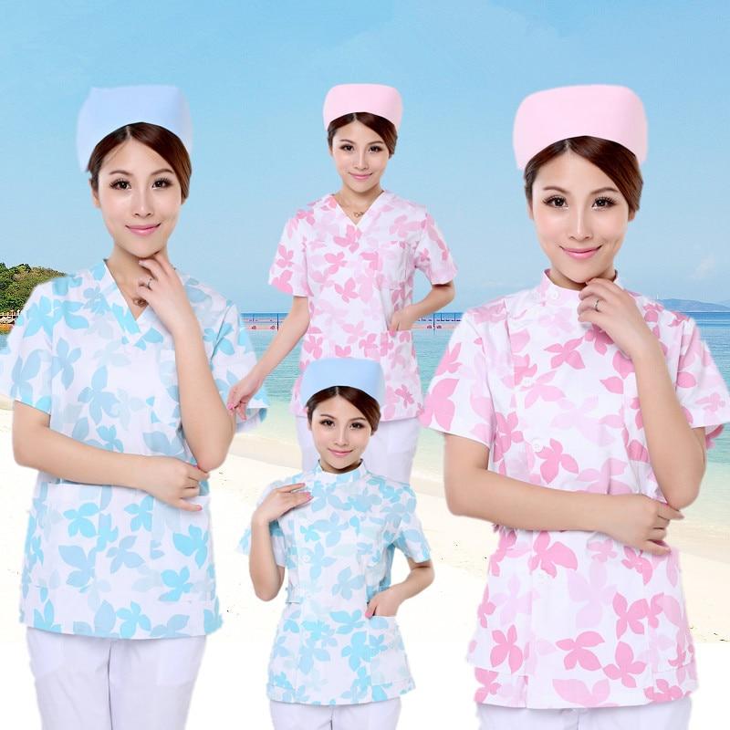 New plus size WoMens V neck Summer Nurse Uniform Hospital print flower Medical Scrub Set Clothes Short Sleeve Surgical Scrubs