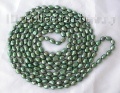 "FREE SHIPPING>>>@@ stunning long 100"" 11mm green baroque freshwater cultured pearl necklace Factory Wholesale price Women Gift w"