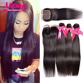 7A Brazilian Virgin Hair With Closure,Brazilian Hair Weave Bundles With Closure,Brazilian Straight Human Hair Weave With Closure