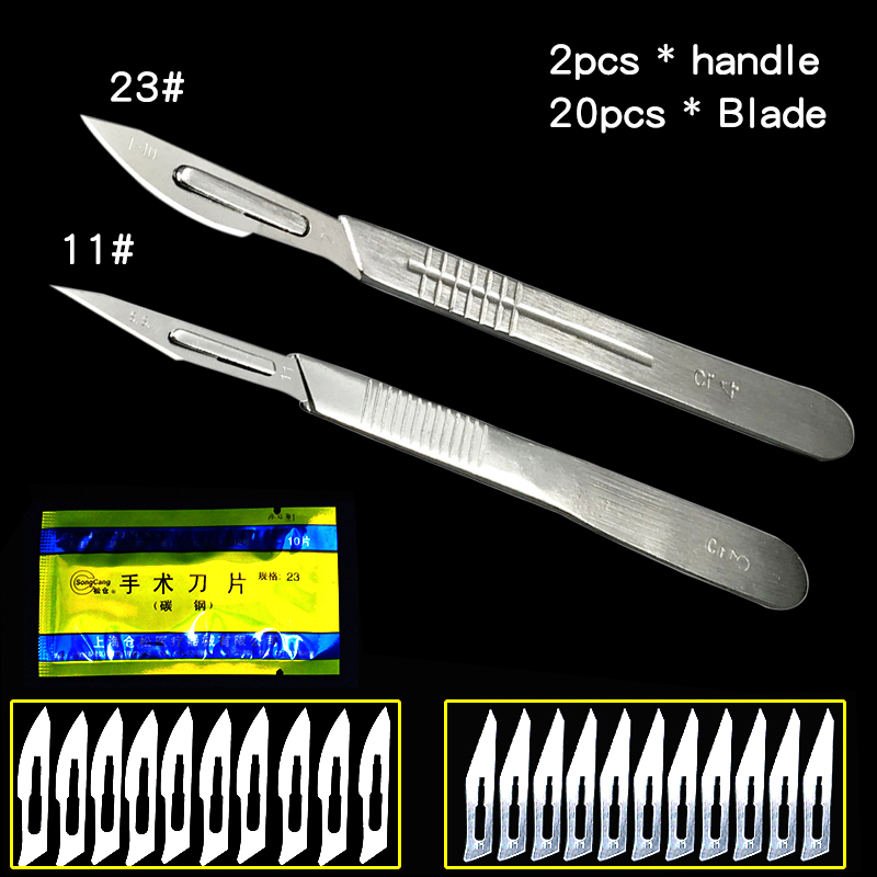 22pcs Disposable Animal Surgical Scalpel Knife stainless steel Surgical Scalpel Knife Multi-function Knife Tools free shipping