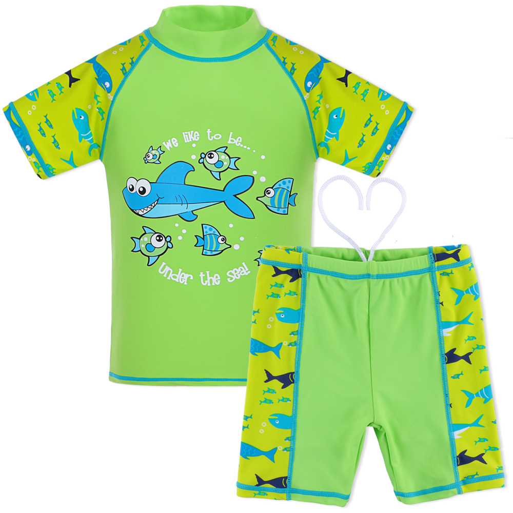 2017 Long Sleeve Rash Guards Boys Swimsuits 2Pcs Set UPF50+ UV Girls Clothes Sunblock Baby Bathing Swimming Suit for 3-12Y Kids