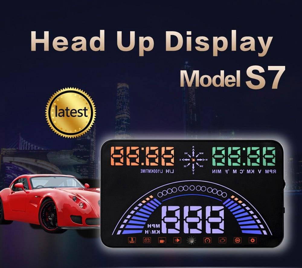 imágenes para Lo nuevo S7 Coche Auto OBD2 GPS HUD Head Up Display 5.8 pulgadas de Pantalla OBD II Parabrisas Proyector Alarma de Falla Del Motor de Velocidad Dinámico