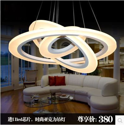 Fashion LED acrylic annular sitting room lamp droplight contracted and contemporary bedroom restaurant SIZE:40+30+20CM