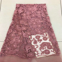 Best Selling Nigeria Style Blush Pink African Lace 2018 Velvet Embroidery Net Lace Fabric X403 02