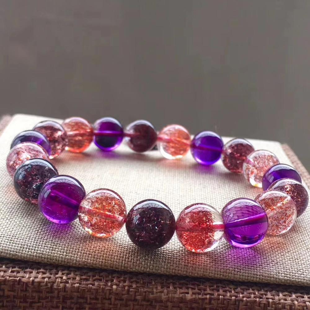 Top Quality Natural Super Seven 7 Lepidocrocite Quartz Rutilated Crystal Round Beads Bracelet 10 2mm Women AAAAAA Certificate in Bracelets Bangles from Jewelry Accessories