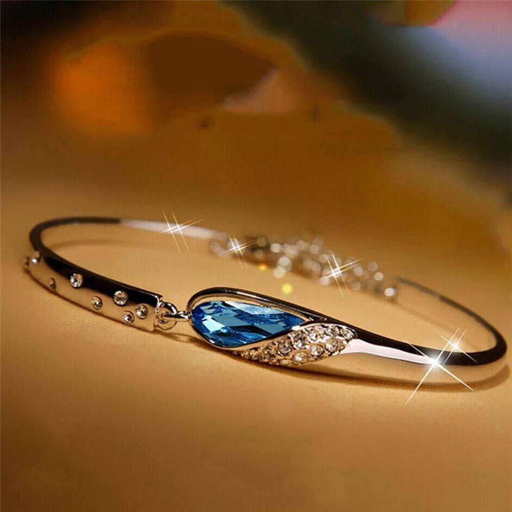 Moda Jóias de Cristal Azul Pulseira Para Mulheres Pulseiras Moda Jóias Presente de Natal