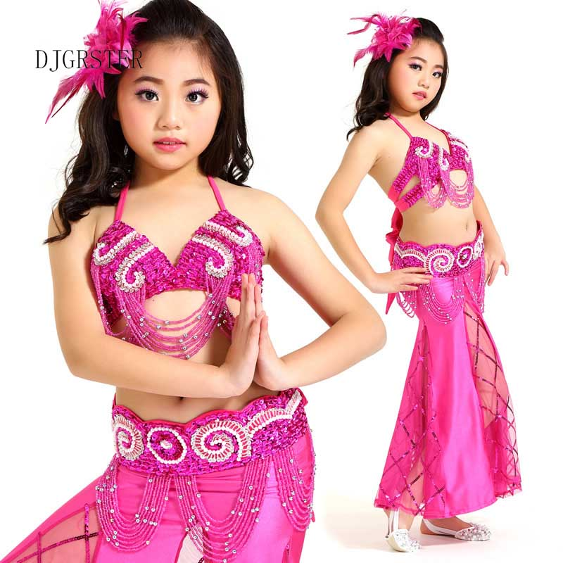 DJGRSTER Belly Dance Children Indian Costume Set 3-pieces (Top+Belt+dress) Bollywood Dance Costumes for Girls Kids bellydance индийский костюм для танцев девочек
