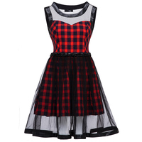 Bohoartist Women Red Plaid Dress Sleeveless A Line Mesh Patchwork Hollow Out Dress Young Lady European