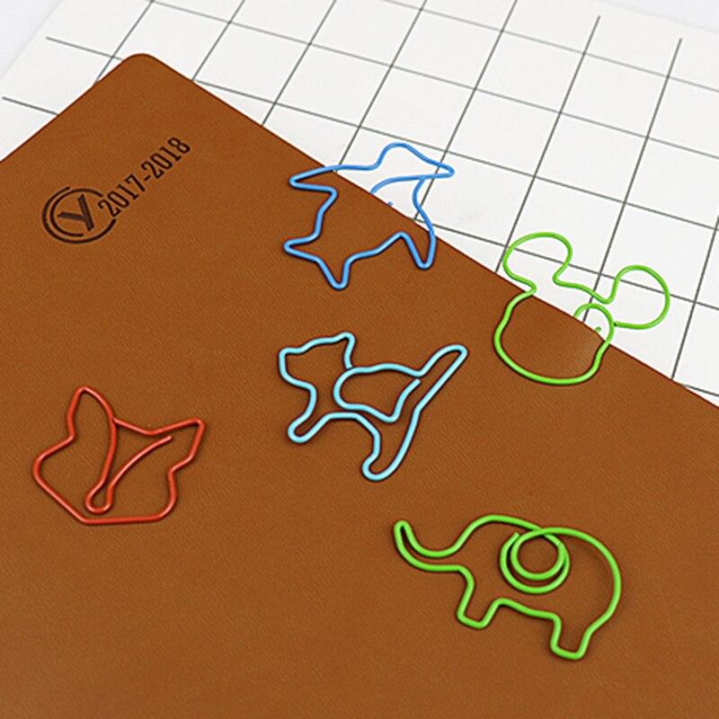 Купить с кэшбэком TUTU 30pcs/lot Cute Cartoon Animal Shape Paper Clips Creative Interesting Bookmark Clip Memo Clip Shaped Paper Clips H0006