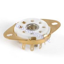цена на 5pcs 8pin Octal Gold Plate Ceramic Loctal Tube Socket 5B254 1LA6 B8G Base Chassis