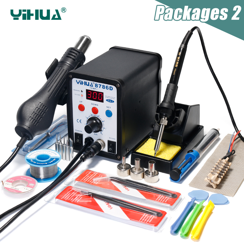 2 In 1 Hot Air Soldering Station YIHUA 8786D Soldering Iron Station Double Panel Circuit LED Rework Station holder lcds 5065 black gloss кронштейн для тв