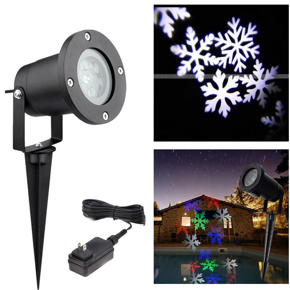 Holiday Lighting Christmas Snow Projector LED <font><b>Light</b></font> Outdoor Snowflake lawn lamp IP65 Garden decor White RGB with Power Plug