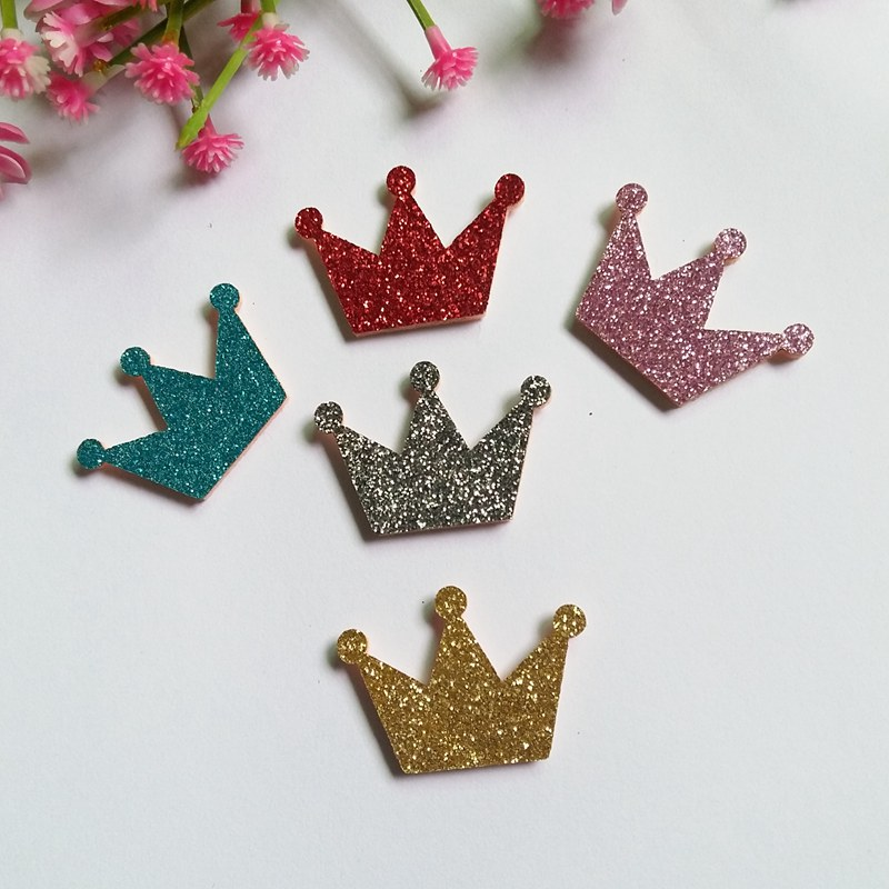 80Pcs Mixed Glitter Felt Pads Applique Crown Fabric Patches for Craft/Clothes/Wedding DIY Scrapbooking decorative Accessories