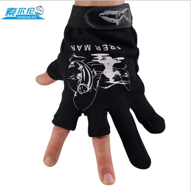 Special Price Suoerlun 1 Pair Fishing Gloves Breathable Anti-slip 3 Fingerless Fishing Gloves Outdoor Sports Cycling Camping Running