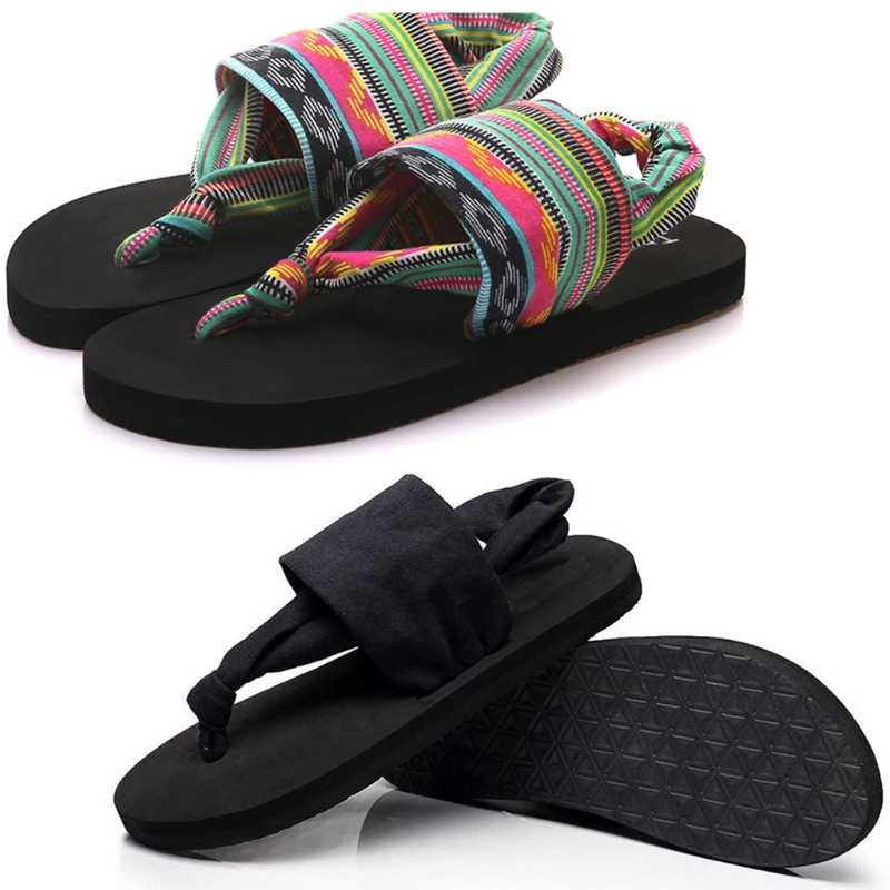 THINKTHENDO Women Shoes Flip Flops EVA Sole Cloth Belt Summer Bohemian Style Beach Sandals
