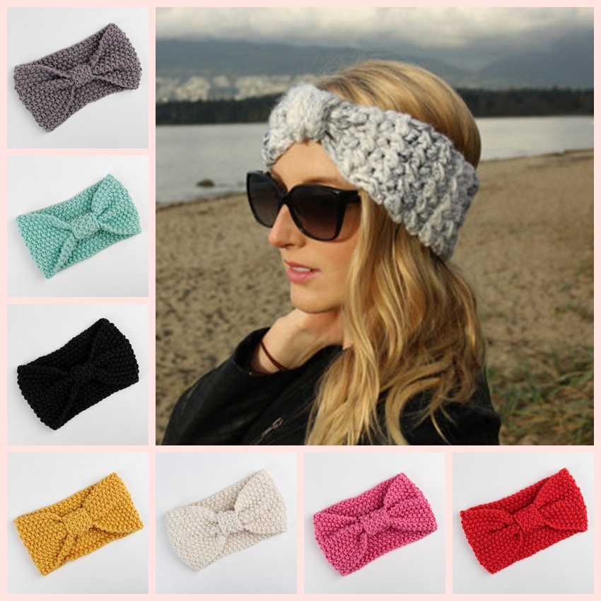 Crochet Bow Headband for Women Girls Winter Ear Warmer Knitted Turban Hairband Wool Head Wrap Turbans Girls Hair Accessories 1 pc women fashion elastic stretch plain rabbit bow style hair band headband turban hairband hair accessories