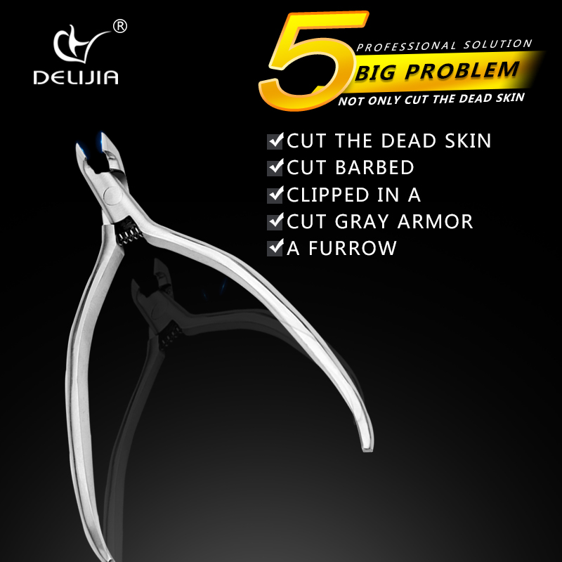 DeLiJia 1Pcs Stainless Steel Cuticle Nipper Cutter Dead Skin Pliers Remove Finger Toe Nail Clipper Cuticle Scissor Manicure Tool nail cuticle nipper double spring stainless steel jaw 1 4 best nail tool to remove dead skin on finger and toe cutter