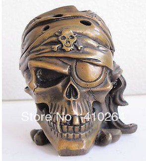 Shipping China Bronze art Statue one-eyed person Skull Head statue incense burner