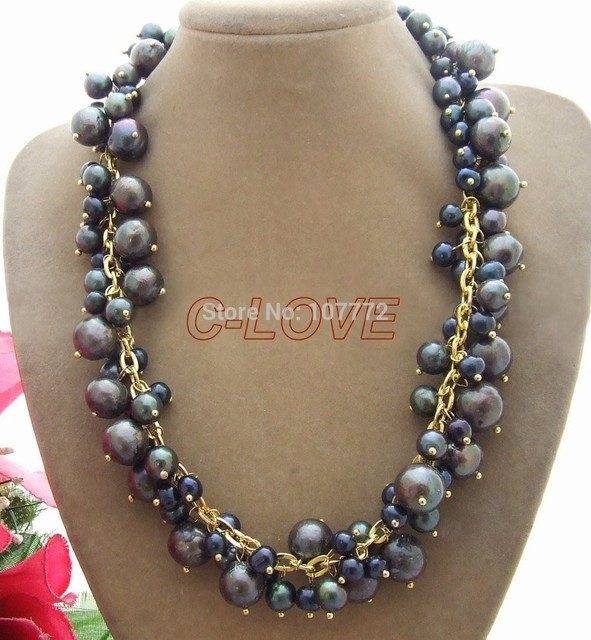 Black Bead-Nucleated Pearl Necklace