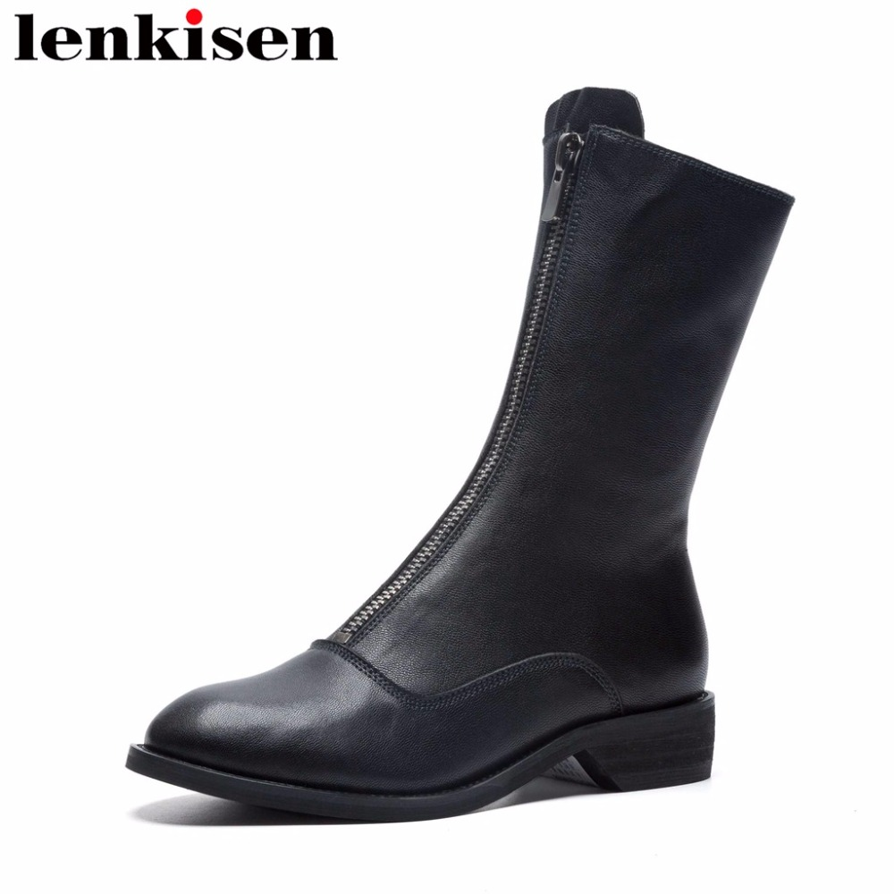 Lenkisen rome round toe low square heels zipper classic natural leather short plush keep warm all-match women mid-calf boots L51Lenkisen rome round toe low square heels zipper classic natural leather short plush keep warm all-match women mid-calf boots L51