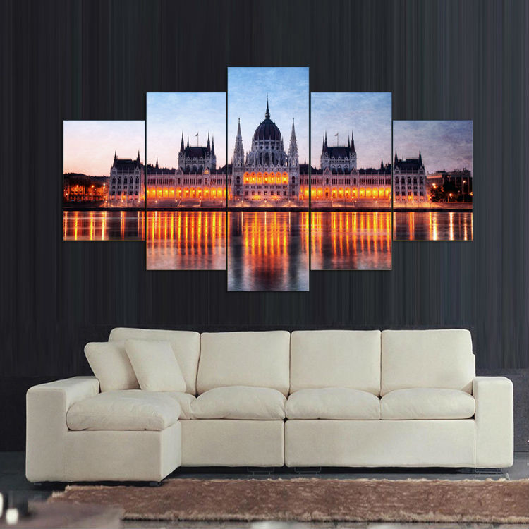 2016 Sale Rushed Paintings Budapest Night Canvas Painting On Home Decorative Wall Art Picture For Living Room Unframed 5 Pieces