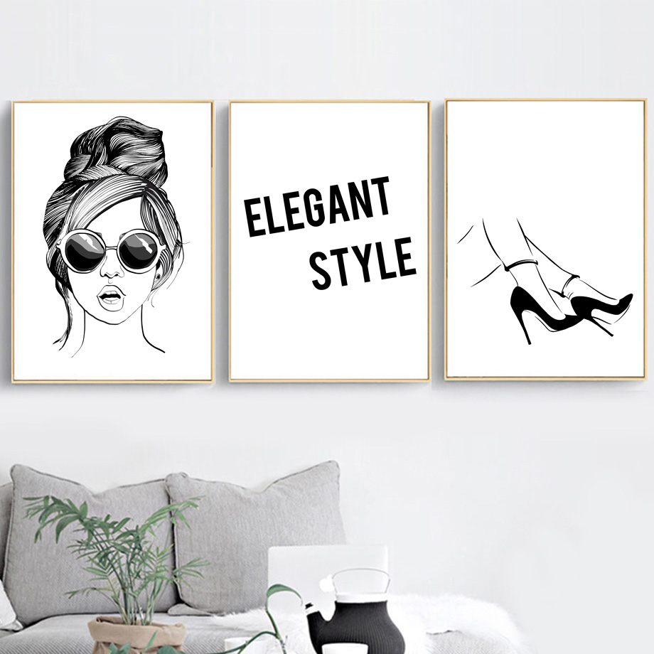 Us 304 38 Offblack White Girl High Heels Elegant Quote Wall Art Canvas Painting Nordic Posters And Prints Wall Pictures For Living Room Decor In